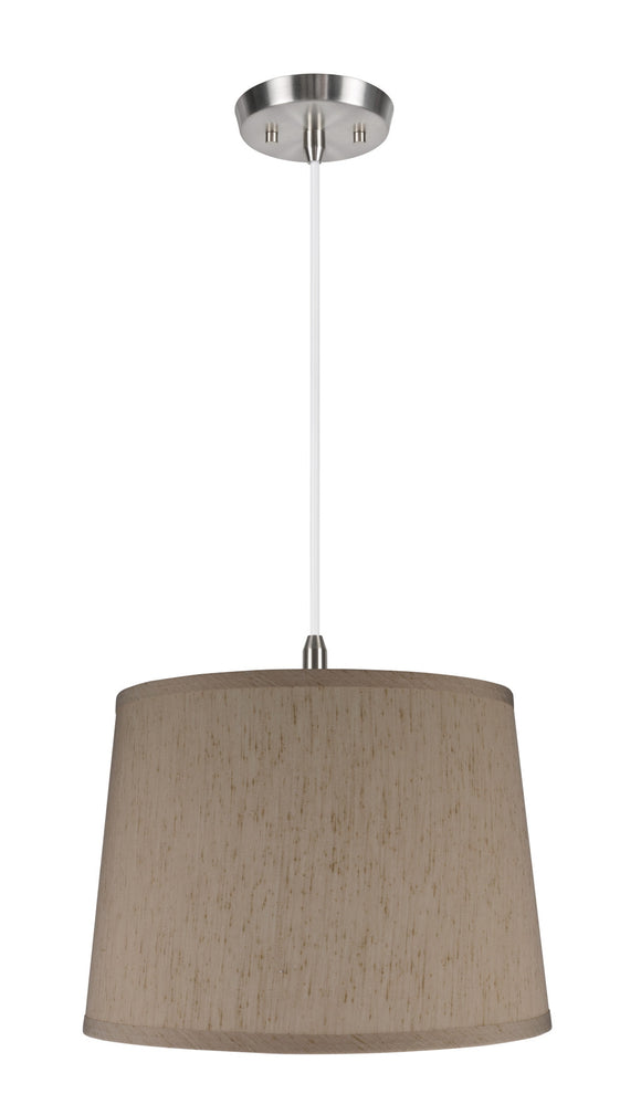 # 72142 1-Light Hanging Pendant Ceiling Light with Transitional Hardback Fabric Lamp Shade, Yellowish Brown Gauze, 14