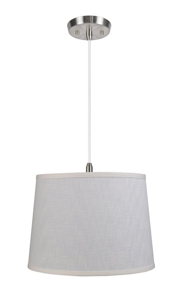 "# 72052  1-Light Hanging Pendant Ceiling Light with Transitional Hardback Fabric Lamp Shade, Off White Linen, 14"" W"