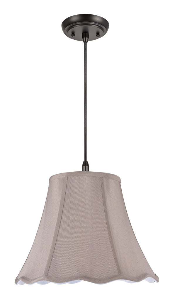 # 74004  1-Light Hanging Pendant Ceiling Light with Transitional Scallop Bell Fabric Lamp Shade, Taupe Faux Silk, 14