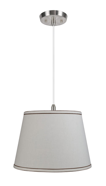 "# 72042 2-Light Hanging Pendant Ceiling Light with Transitional Hardback Fabric Lamp Shade, Off White Linen, 15"" W"