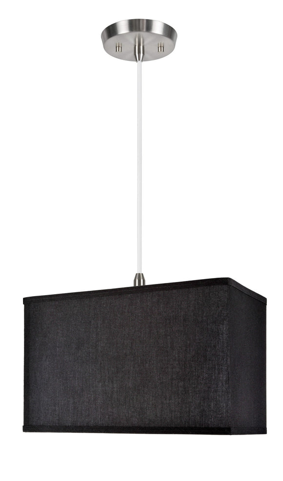 # 76001 1-Light Hanging Pendant Ceiling Light with Transitional Rectangular Hardback Fabric Lamp Shade, Black Cotton, 8