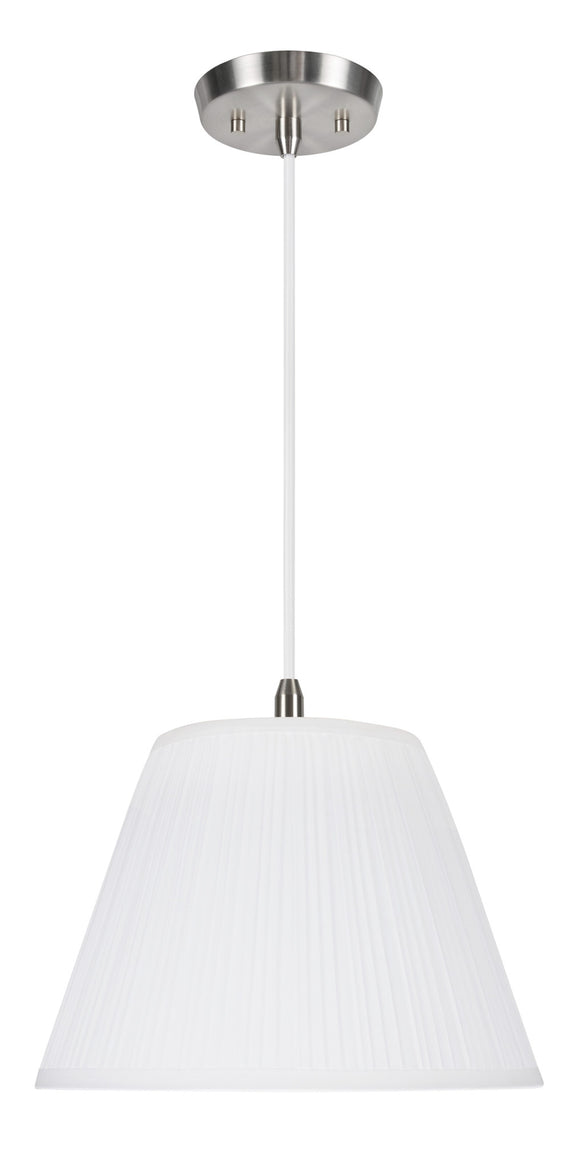 # 73011  1-Light Hanging Pendant Ceiling Light with Transitional Pleated Fabric Lamp Shade, White Tetoron Cotton Fabric, 13