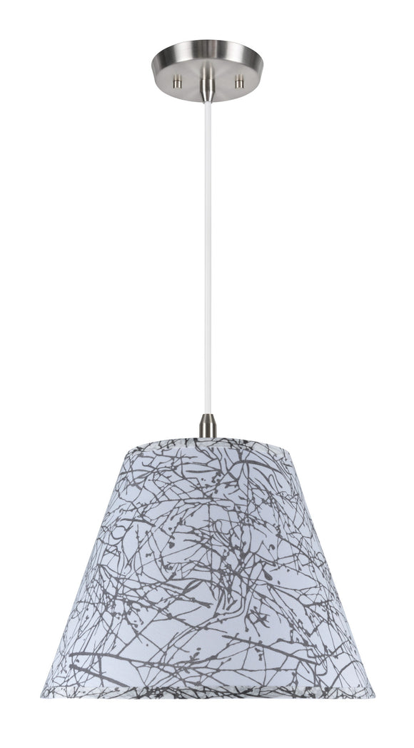 # 72286  1-Light Hanging Pendant Ceiling Light with Transitional Hardback Fabric Lamp Shade, Off-White Linen, 14