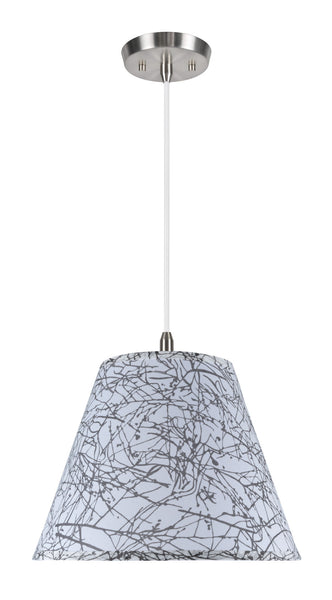 "# 72286  1-Light Hanging Pendant Ceiling Light with Transitional Hardback Fabric Lamp Shade, Off-White Linen, 14"" W"