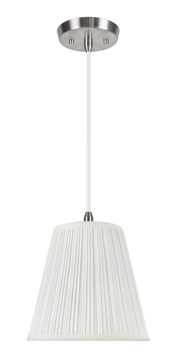 # 73004 1-Light Hanging Pendant Ceiling Light with Transitional Pleated Shade, in an Off White Tetoron Rayon Fabric, 9