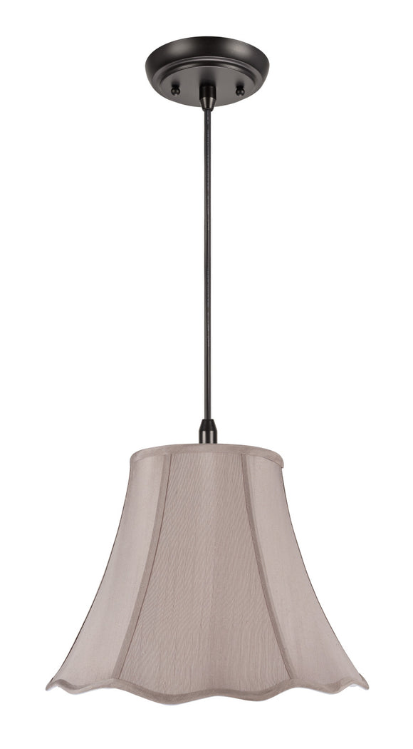 # 74008 One-Light Hanging Pendant Ceiling Light with Transitional Hexagon Scallop Bell Fabric Lamp Shade, Taupe Faux Silk, 12
