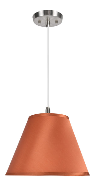 "# 72193  1-Light Hanging Pendant Ceiling Light with Transitional Hardback Fabric Lamp Shade, Burnt Orange Sateen, 12"" W"