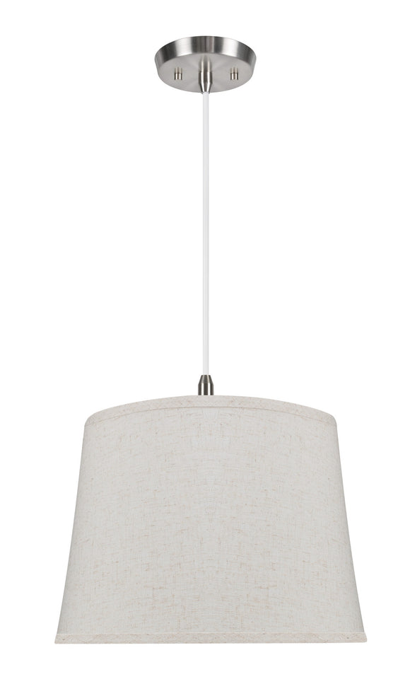 # 72053  1-Light Hanging Pendant Ceiling Light with Transitional Hardback Fabric Lamp Shade, in a Beige Linen, 14