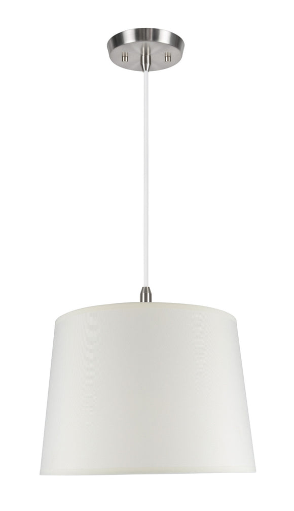 # 72014  1-Light Hanging Pendant Ceiling Light with Transitional Hardback Fabric Lamp Shade, in Crème Cotton, 14