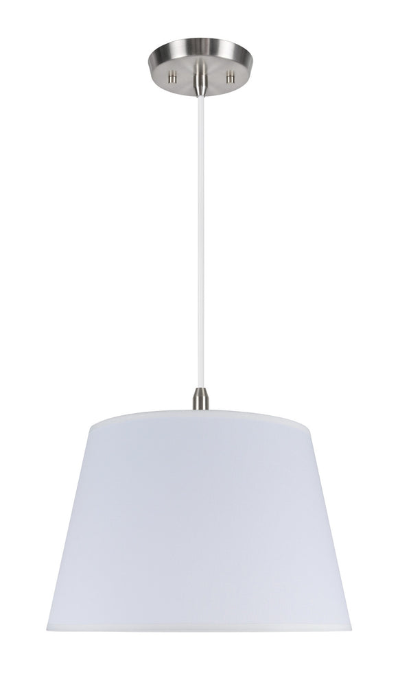 # 72018 2-Light Hanging Pendant Ceiling Light with Transitional Hardback Fabric Lamp Shade, in Ivory Tetoron Rayon, 15