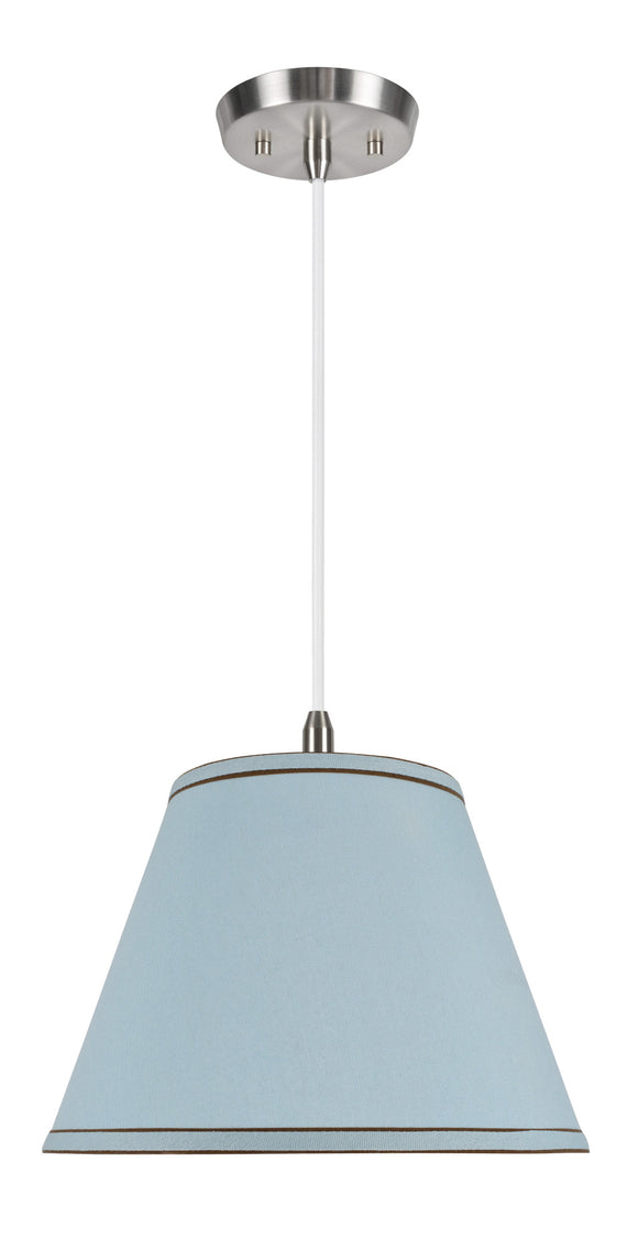 # 72183  1-Light Hanging Pendant Ceiling Light with Transitional Hardback Fabric Lamp Shade, Light Blue with Trim, 13