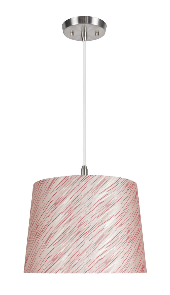 # 72013  1-Light Hanging Pendant Ceiling Light with Transitional Hardback Fabric Lamp Shade, Taupe - Red Striping, 14