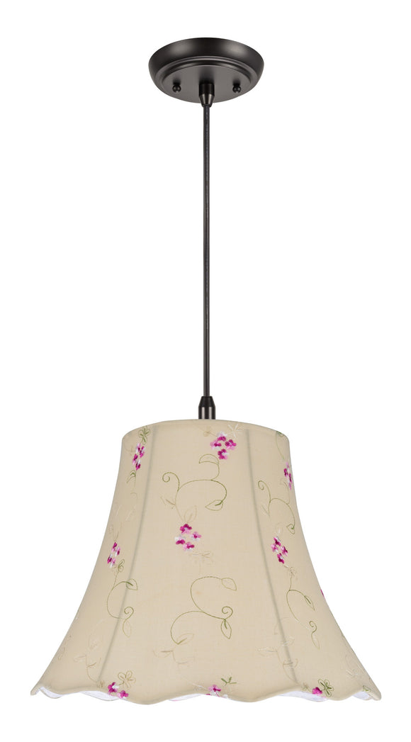 # 74036 1-Light Hanging Pendant Ceiling Light with Transitional Scallop Bell Fabric Lamp Shade, Apricot - Floral Design, 14