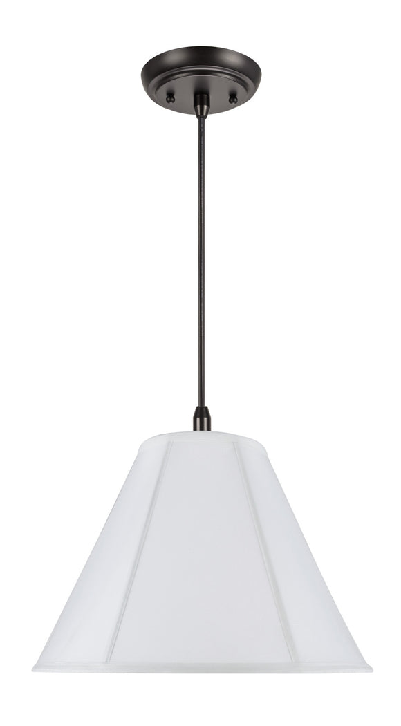 # 75005  1-Light Hanging Pendant Ceiling Light with Transitional Hexagon Bell Fabric Lamp Shade, Off White Cotton, 16
