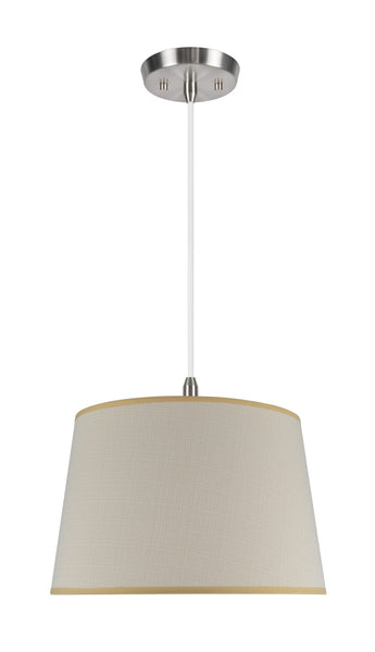 "# 72026 2-Light Hanging Pendant Ceiling Light with Transitional Hardback Fabric Lamp Shade, Butter Creme Cambric, 17"" W"