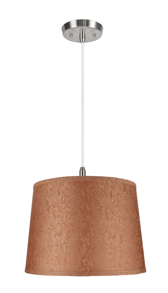 # 72144 1-Light Hanging Pendant Ceiling Light with Transitional Hardback Fabric Lamp Shade, in Brown, Textured, 14