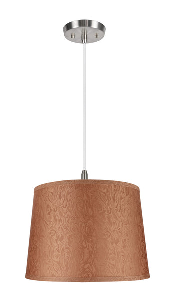 "# 72144 1-Light Hanging Pendant Ceiling Light with Transitional Hardback Fabric Lamp Shade, in Brown, Textured, 14"" W"
