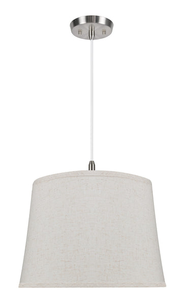 "# 72055  2-Light Hanging Pendant Ceiling Light with Transitional Hardback Fabric Lamp Shade, in a Beige Linen, 16"" W"