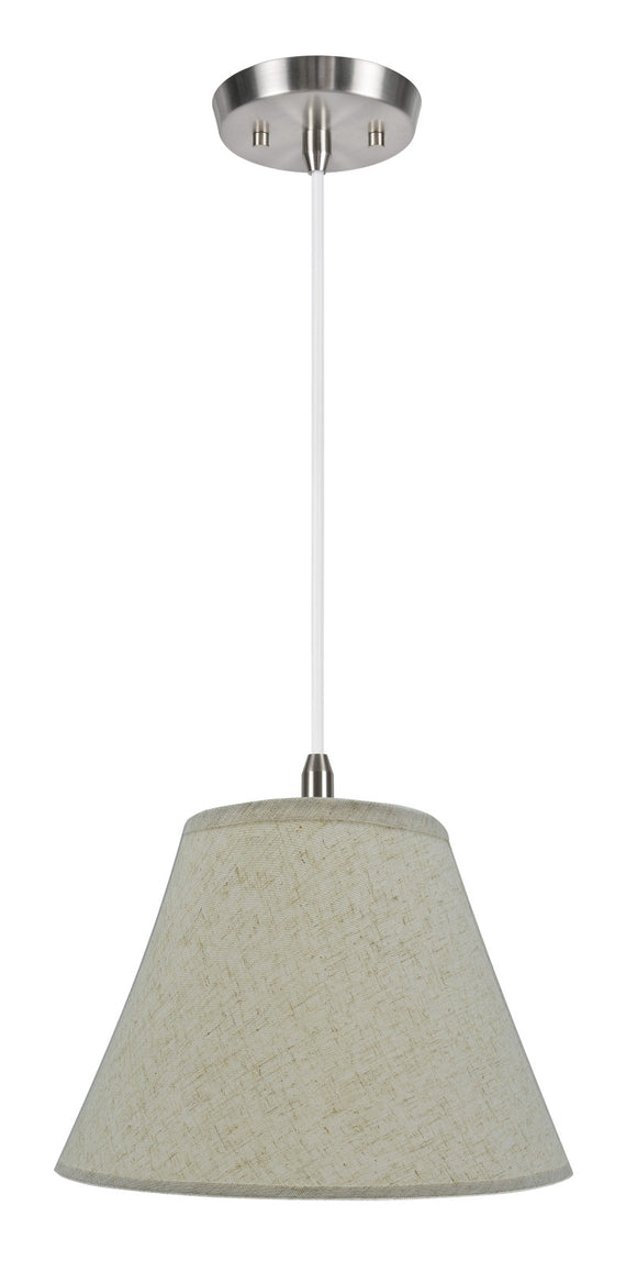 # 72033 1-Light Hanging Pendant Ceiling Light with Transitional Hardback Fabric Lamp Shade, in a Flaxen Linen, 12