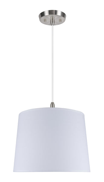 "# 72020 2-Light Hanging Pendant Ceiling Light with Transitional Hardback Fabric Lamp Shade, in a White Linen, 16"" W"
