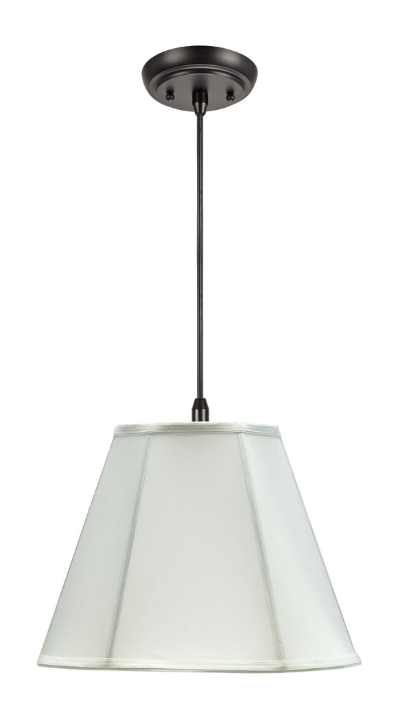 # 75003 1-Light Hanging Pendant Ceiling Light with Transitional Hexagon Bell Fabric Lamp Shade, Off White Cotton, 14