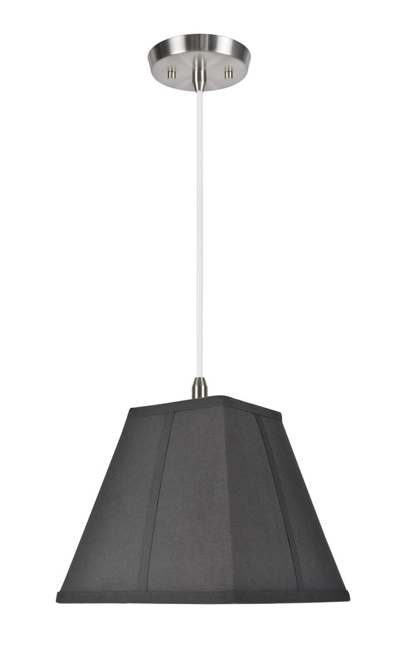 # 76500  1-Light Hanging Pendant Ceiling Light with Transitional Square Hardback Fabric Lamp Shade, Black Cotton, 10