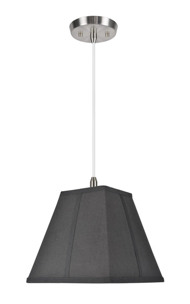 "# 76500  1-Light Hanging Pendant Ceiling Light with Transitional Square Hardback Fabric Lamp Shade, Black Cotton, 10"" W"