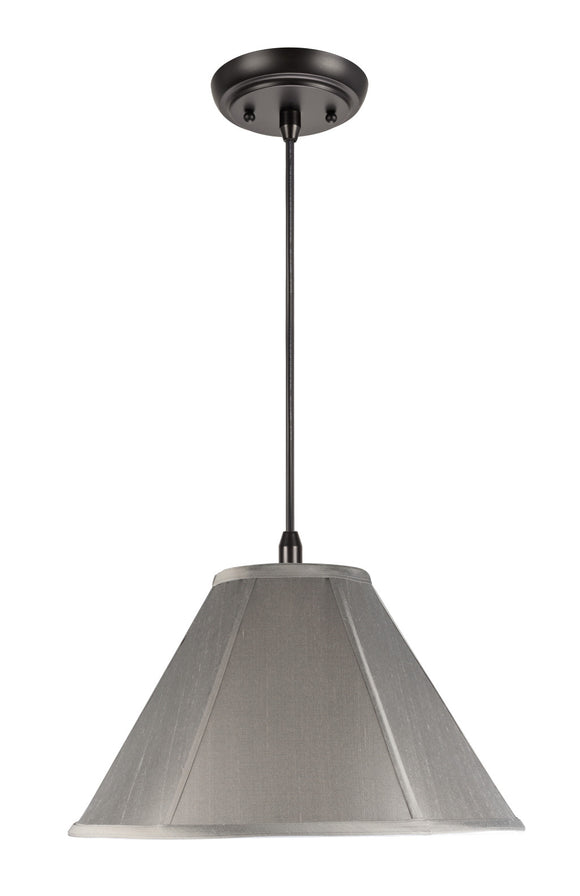 # 75009  1-Light Hanging Pendant Ceiling Light with Transitional Bell Fabric Lamp Shade, Light Grey Faux Silk Fabric, 15