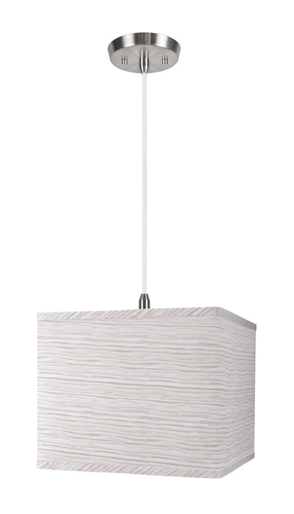 # 72161  1-Light Hanging Pendant Ceiling Light with Transitional Rectangular Hardback Fabric Lamp Shade, Striped Texture, 12