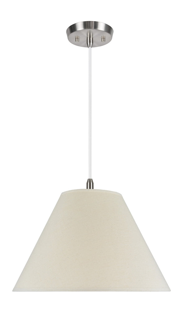 # 72023 2-Light Hanging Pendant Ceiling Light with Transitional Hardback Fabric Lamp Shade, Off White Linen, 18