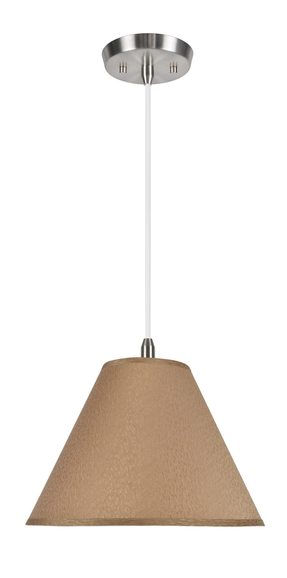 # 72266 2-Light Hanging Pendant Ceiling Light with Transitional Hardback Fabric Lamp Shade, in a Textured Khaki, 16
