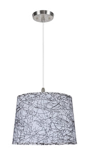 "# 72148  1-Light Hanging Pendant Ceiling Light with Transitional Hardback Fabric Lamp Shade, Off-White Sateen, 14"" W"