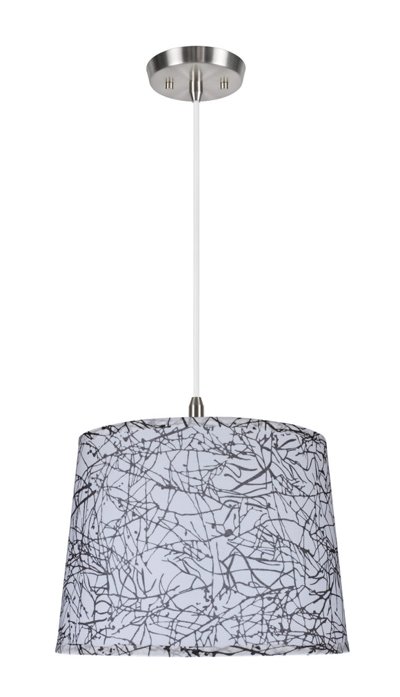 # 72148  1-Light Hanging Pendant Ceiling Light with Transitional Hardback Fabric Lamp Shade, Off-White Sateen, 14