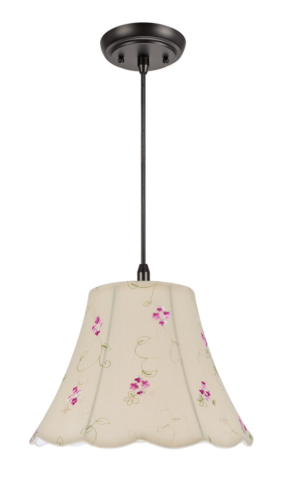 # 74009  1-Light Hanging Pendant Ceiling Light with Transitional Scallop Bell Fabric Lamp Shade, Apricot - Floral Design, 12