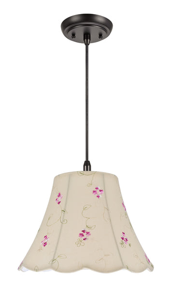 "# 74009  1-Light Hanging Pendant Ceiling Light with Transitional Scallop Bell Fabric Lamp Shade, Apricot - Floral Design, 12"" W"