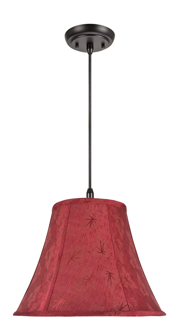 # 70131  1-Light Hanging Pendant Ceiling Light with Transitional Bell Fabric Lamp Shade in Red with Leaf Design, 14