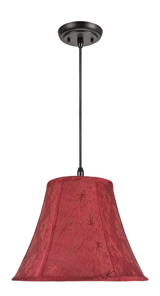 "# 70131  1-Light Hanging Pendant Ceiling Light with Transitional Bell Fabric Lamp Shade in Red with Leaf Design, 14"" W"