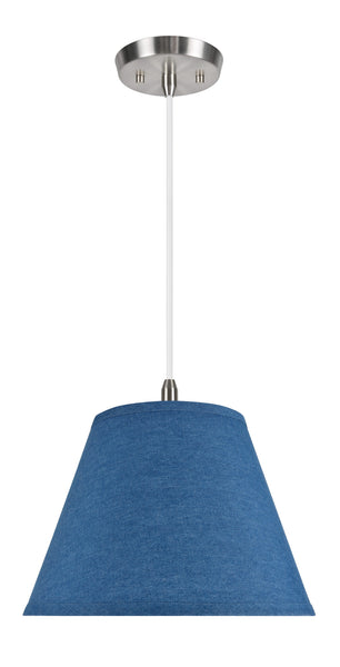 "# 72182  1-Light Hanging Pendant Ceiling Light with Transitional Hardback Fabric Lamp Shade, Washed Blue Denim, 13"" W"