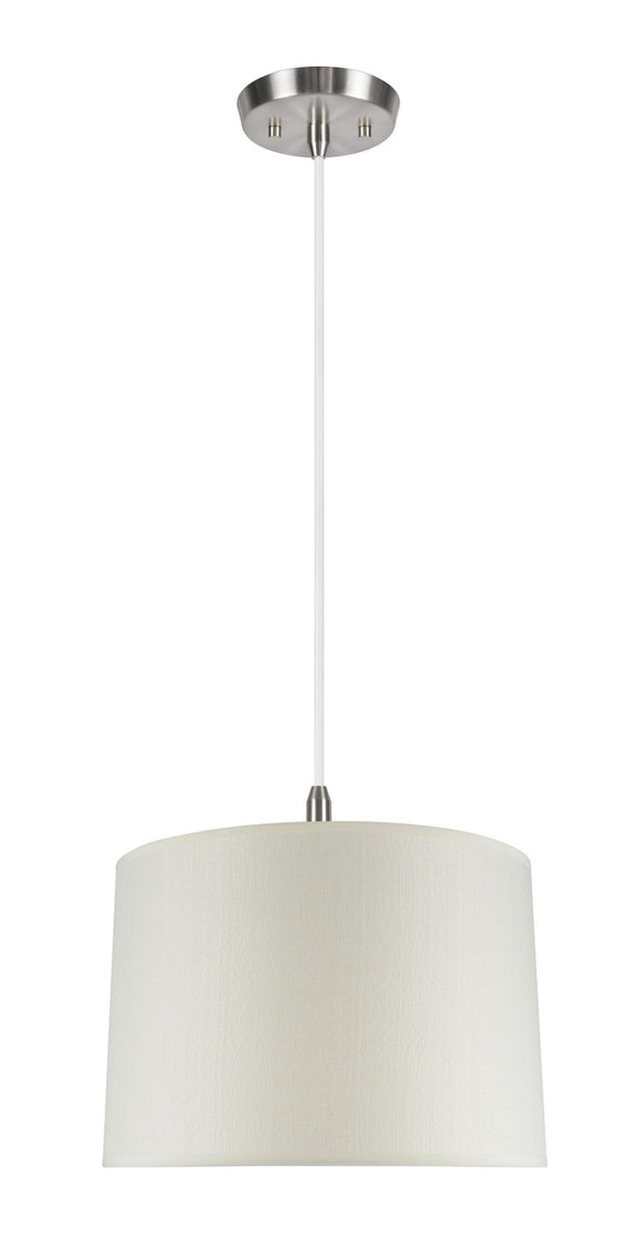 # 72022  2-Light Hanging Pendant Ceiling Light with Transitional Hardback Fabric Lamp Shade, Textured Butter Creme, 16
