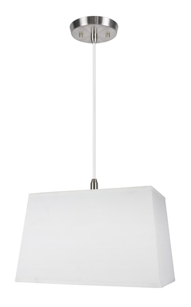 "# 72028 1-Light Hanging Pendant Ceiling Light with Transitional Rectangular Hardback Fabric Lamp Shade, White Cotton, 8"" W"