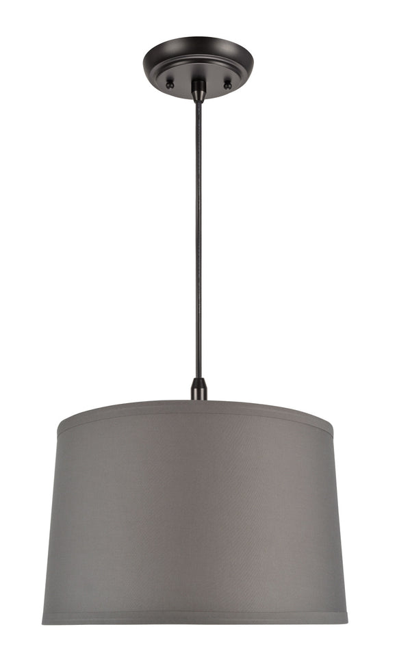 # 72241 One-Light Hanging Pendant Ceiling Light with Transitional Hardback Fabric Lamp Shade, Grey Elastic Cotton, 14