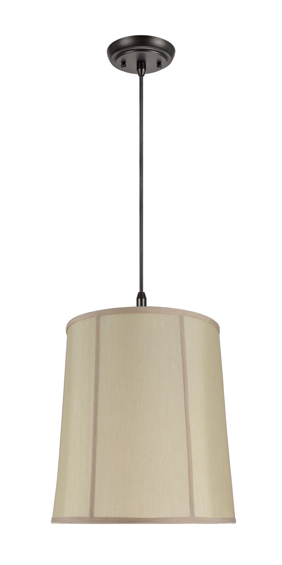 # 75008 1-Light Hanging Pendant Ceiling Light with Transitional Drum Fabric Lamp Shade, Gold Faux Silk Fabric, 14