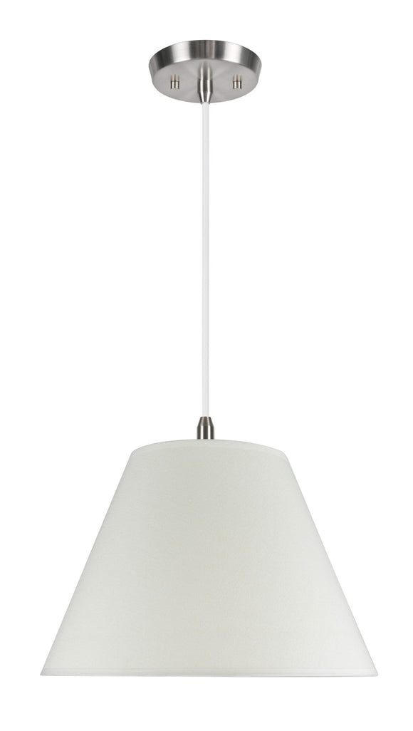 # 72017 2-Light Hanging Pendant Ceiling Light with Transitional Hardback Fabric Lamp Shade, Off White Linen, 15