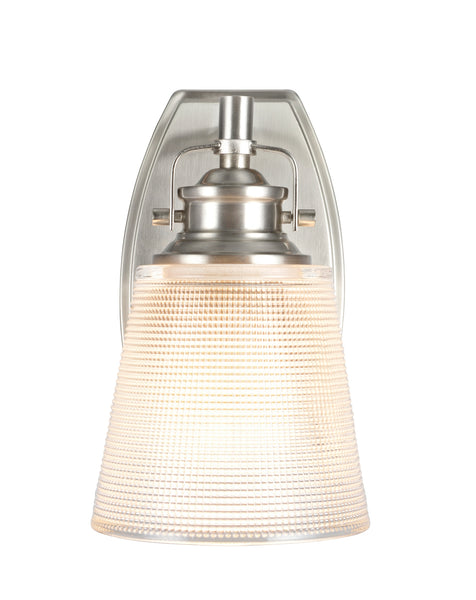 "# 62085 1 Light Metal Bathroom Vanity Wall Light Fixture, 5"" Wide, Transitional Design in Brushed Nickel with Clear Glass Shade"