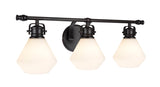 "# 62091 3 Light Metal Bathroom Vanity Wall Light Fixture, 24"" Wide, Transitional Design in Bronze with Opal Glass Shade"