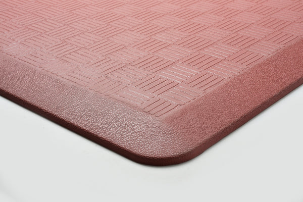 "# 18002-42 Anti-Fatigue, Ergonomically Engineered, Non-Toxic, Non-Slip, Waterproof, All-Purpose PU Floor Mat, Basket Weave Pattern, 24"" x 36"" x .7"" thickness, Marsala Color (2 Pack)"