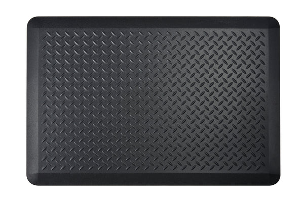 "# 18003-31 Anti-Fatigue, Ergonomically Engineered, Non-Toxic, Non-Slip, Waterproof, All-Purpose PU Floor Mat, Tread Plate Pattern, 24"" x 36"" x .7"" thickness, Black Color (1 Pack)"