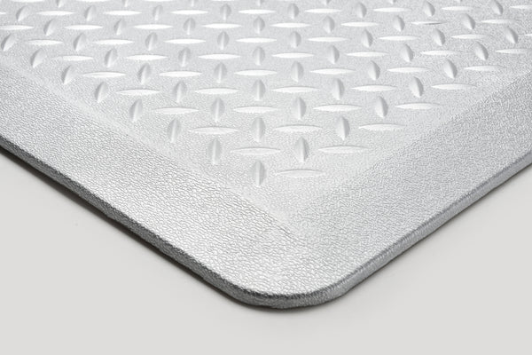 "# 18003-22 Anti-Fatigue, Ergonomically Engineered, Non-Toxic, Non-Slip, Waterproof, All-Purpose PU Floor Mat, Tread Plate Pattern, 24"" x 36"" x .7"" thickness, Silver Color (2 Pack)"