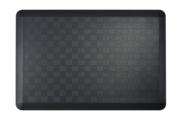 "# 18002-32 Anti-Fatigue, Ergonomically Engineered, Non-Toxic, Non-Slip, Waterproof, All-Purpose PU Floor Mat, Basket Weave Pattern, 24"" x 36"" x .7"" thickness, Black Color (2 Pack)"