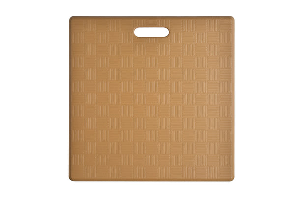 "# 18001-12 Anti-Fatigue, Ergonomically Engineered, Non-Toxic, Non-Slip, Waterproof, All-Purpose PU Floor Mat, Basket Weave Pattern, 20"" x 20"" x .62"" thickness, Ice Coffee Color (2 Pack)"